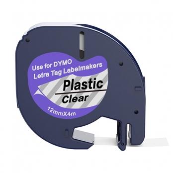 Dymo 12267 compatible lettertape zwart op transparant 12mm