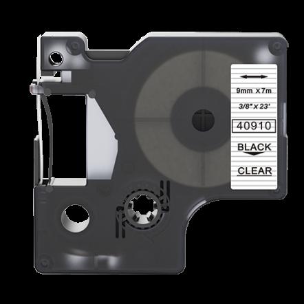 Dymo 40910 compatible lettertape zwart op transparant 9mm