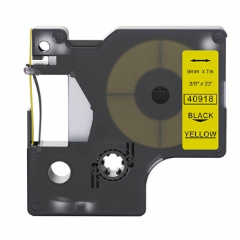 Dymo 40918 compatible lettertape zwart op geel 9mm
