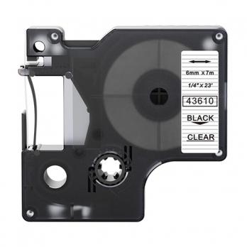 Dymo 43610 compatible lettertape zwart op transparant 6mm