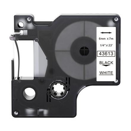 Dymo 43613 compatible lettertape zwart op wit 6mm