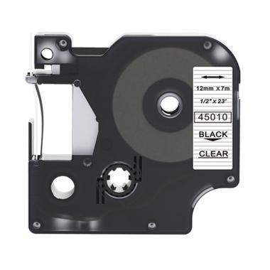 Dymo 45010 compatible lettertape zwart op transparant 12mm