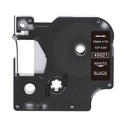 Dymo 45021 compatible lettertape wit op zwart 12mm