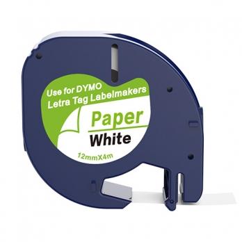Dymo 91200 compatible lettertape zwart op wit 12mm