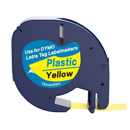 Dymo 91202 compatible lettertape zwart op geel 12mm